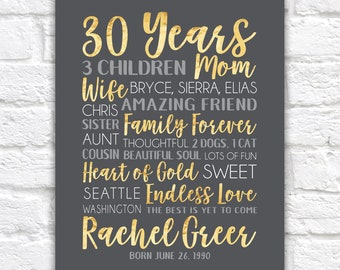 30th Birthday Gift for Women, Wife Turning 30 Personalized Keepsake Art, Born in 1990, Gift for Best Friend Bday, Word Collage Art