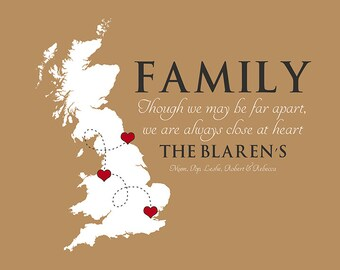 Family Quote, Any Map, UK, England -  Personalized Gift for Families, Christmas, Holiday, Long Distance, Parents, Sisters, Brothers WF362