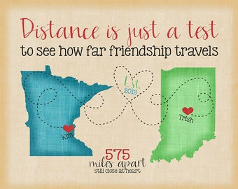 Long Distance Maps, Custom Best Friend Present, Going Away Gift, Popular Friend Gifts, Friendship Quote, 2 States, Multi State Map Art WF205