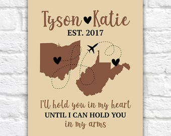 Long Distance Maps, I'll Hold You in My Heart, Gift for Boyfriend, Far Apart, Travel Poster, Canvas Sign  | WF575