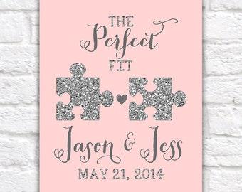 Wedding Gift, Jigsaw Pieces, Perfect Fit, Puzzle, Blush, Glitter, Silver, Elegant, Wedding Gift, Princess Wedding, Best Friends Wedding