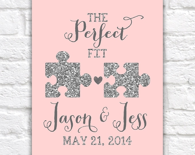 Featured listing image: Wedding Gift, Jigsaw Pieces, Perfect Fit, Puzzle, Blush, Glitter, Silver, Elegant, Wedding Gift, Princess Wedding, Best Friends Wedding