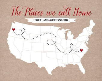 The Places we Call Home -  Personalized Housewarming Gift - Two Locations of your Choice, Custom Map, Moving Away Gift, Farewell WF145