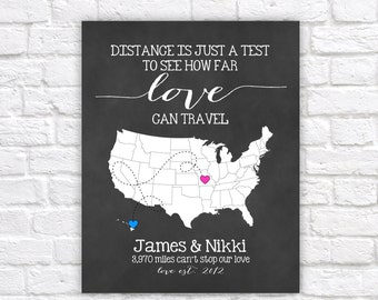 Long Distance Relationship Gift for Boyfriend, Fiance, Husband -  Custom Map, Art Print, Distance is just a Test, Mileage between us WF104