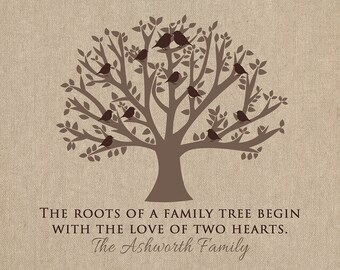 Gift for Grandparents, Family Tree, Grandma and Grandpa Quotes, Life Print, Tree with Birds, Family Roots, Neutral, Brown | WF380