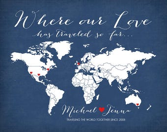 Where our Love Has Traveled so far Personalized Map Art Print, Wedding Gift, Couple who Loves to Travel, World Travels - Honeymoon WF39