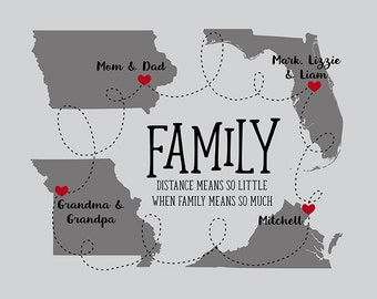 Family Maps, Choose Any 4 Maps, Grandma and Grandpa, Mom and Dad, Brother and Sister Christmas Gifts Welcome Home, Retirement | WF491
