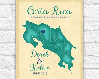 Costa Rica Wedding Honeymoon Anniversary Travel Gift, Personalized Art Map, San Jose, Alajuela, Spanish, Destination Wedding Beach Theme