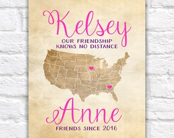 Best Friends, Long Distance Friendship Map, Pink and Purple, Choose your Locations, Colors - Personalized Names of Friends, Sisters | WF254