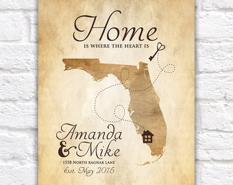 New House, Housewarming Gift,  Art Print, Map Home Key, First House, First Home, Newlyweds, Florida, Wedding, Moving, Gift for Wife WF138
