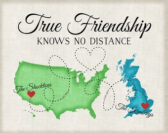 Going Away Gift for Friends,  Custom Map Art, Personalized Best Friend Gift, Long Distance Friend Quote, Map, Two Country, Moving | WF76