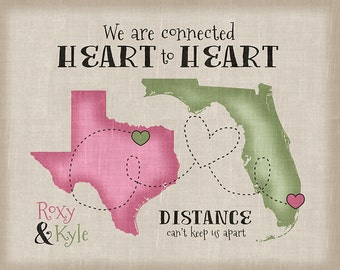 Long Distance Relationship Gift, Quote - Personalized Art, Gift for Boyfriend, Girlfriend, Husband, Wife, Friends, Army, Military WF286