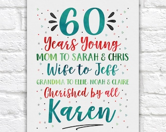60th Birthday Sign, Decoration for Party and Home, 60 year old birthday party, 60th Gift for Women WF718