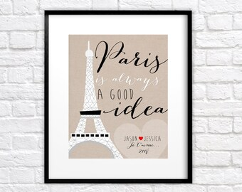 Custom Gift for Paris Lover -  Personalized Art Print, Wedding Gift, Bridal Shower Gift, Engagement in Paris, Eiffel Tower, Je Taime WF293