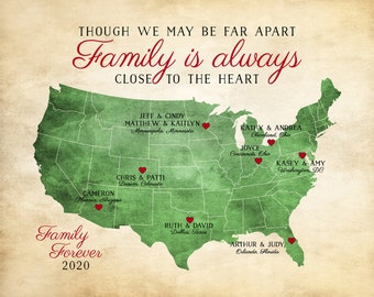 Gift for Family, Family Quote, Long Distance Family Map, Gift for Parents, Gift for Grandparents, Friends, Father, Mother, Unique 2020