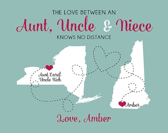 Gift for Aunt and Uncle, Custom Art Print Maps, Personalized Gift, Niece, Nephew, Family, Auntie, Tia, Tio, Uncle Gift, Mothers Day WF355