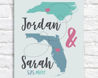 Personalized 2 Map Print, Gift for Someone Living Far Away, Moving Gift for Friends or Lovers, Miles Between Two Locations | WF658