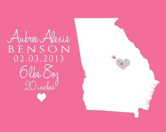 Custom Baby Gift - Newborn, Announcement, Wall Decor -  Print, Baby Shower, Gift for New Parents, State, Location, Kids, Birthday
