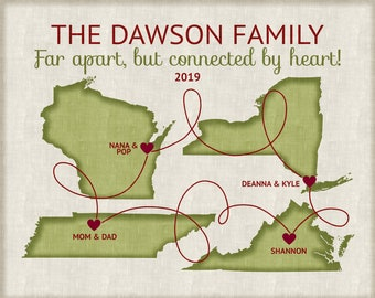 Custom Family Sign, Personalized Maps for Long Distance Family Members, Grandparents Custom Designed Artwork for Siblings, Parents Cousins