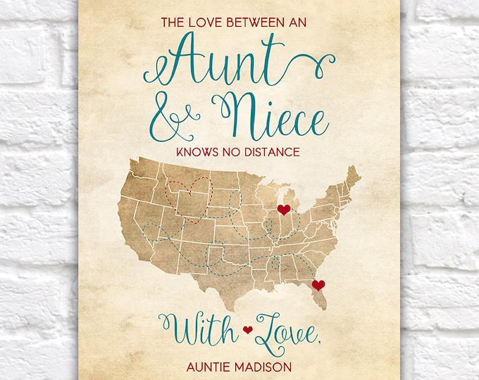 Featured listing image: Aunt and Niece, Mothers Day Gift for Aunt, Auntie, Birthday Gift for Niece, Long Distance Family Map | WF69