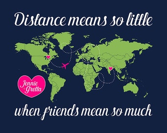 Distance Map for Friend, World Map with 2 Locations Marked, Personalized Gift for Long Distance Friendship, Travel Overseas Gifts | WF17