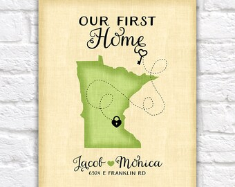 Housewarming Present, Personalized Gift for New House - First Home, Heart, Key, Lock, House Number, Street Address of Home, Realtor | WF56