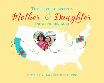 Mother and Daughter, Photo Heart Map,  Custom Map, Love Between Mother and Daughter Quote, Going Away Gift, Gift for Mom, Grandma