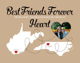 Best Friend Gift, Long Distance Map Gift, Best Friends Forever Quote,  Custom Map of the US, Going Away Gift, Photo, Popular Gift | WF201