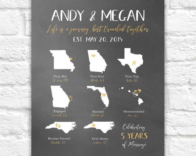 Featured listing image: Custom Anniversary Gift, Couples Timeline, Love Story States, Infographic, 5th Anniversary, 5 Years of Marriage, Gift for Wife, Hubby | WF45