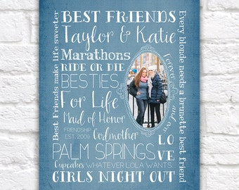 Best Friend Gift, Custom Art Print for Friend or Sister - Memories, Life, Quote, Brunette and Blonde Gift, Special Gift for Friends | WF198