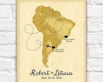 Custom South America Travel map, Brazil, Argentina, Peru, Uruguay - Honeymoon, Destination Wedding, Trip Route, Spanish, Rio de Janeiro