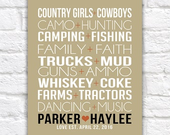Country Love, Gift for Couple -  Art Print, Custom Pairings, Country Life, Music, Dancing - Faith, Camo, Hunting, Gift for Husband | WF296