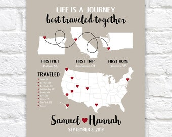 Map Sign, Fully Customizable Gift Art, First Met, First Trip, First Home, Couples First Moments, Housewarming Gift, New House  | WF673