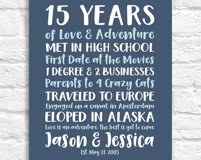 Featured listing image: Anniversary Gift, Couples Adventures and Life Accomplishments,  Personalized Gift for Him or Her on Anniversary, 15th Anniversary Gift WF655