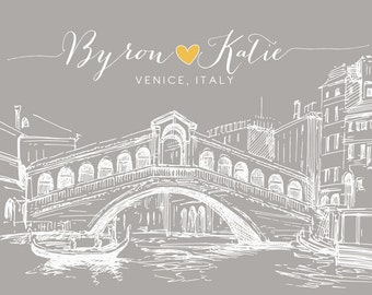 Venice Italy Italian Personalized Art Wedding Anniversary Gift, Honeymoon Engagement Present, Rialto Bridge, Skyline, Venetian Venezia WF153