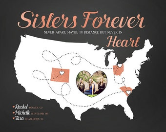 Sister Gifts, Gift for 2 or 3 Sisters - Choose Any Map Locations, Rose Gold, Chalkboard, Copper Color, Coral, Gray, Gift for Moving  | WF120