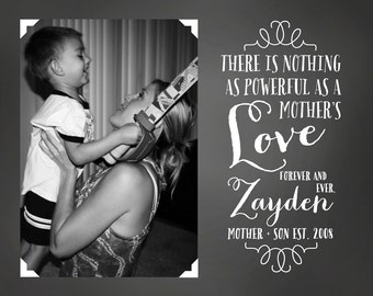 Gift for Mom from Son -  Custom Photo Art Print, Chalkboard Style Print, Mother Child, Mothers Day, Gift for Wife on Mothers Day | WF51