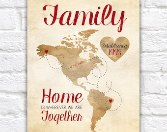 Family Christmas Gift, North and South Americas - Map, Rustic Wedding, Home, Foreign Exchange, Au Pair, Nanny Gift, Mom, Dad