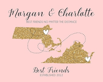 Best Friend Long Distance Print, Gift Friend Glitter Custom Maps, Mom, Sister, Daughter, Best Friend Moving Gift, Farewell, Blush Gold | WF7