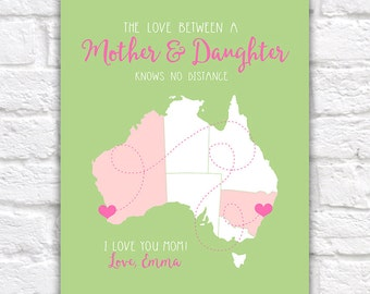 Australia Map, Custom Gifts for Mom, Long Distance Mother, Daughter Art, Grandmother, Grandma, Sister, Perth, Sydney, Melbourne | WF74