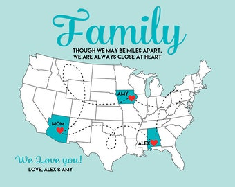 Gift for Parents, Family Mom and Dad - Art Map Print, Long Distance, Gift for Mother in Law, Father in Law, Step Mother WF162
