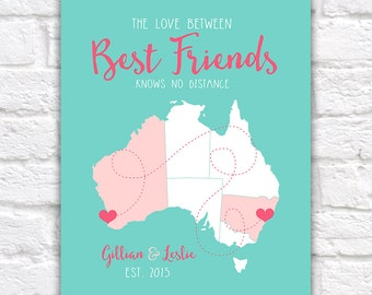 Australia Best Friends Map, Long Distance Map of Australia for Friends Moving, Friendship Quote Personalised | WF75