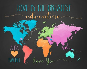 Gift for Boyfriend or Girlfriend, Love is the Greatest Adventure Map Poster Art, Customized with Names and Locations, Travel Map Decor