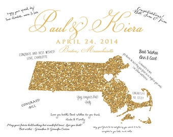 Gold Wedding, Glitter Map -  Custom Art Map, Gold Glitter, Elegant Wedding Gift, Wedding Guestbook Art Print - You Choose Location