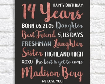 14th Birthday Gift, Personalized Information, Birthday Gift for Daughter, 14 Year Old Gift, Teenager, Gift for Teen Daughter 14 Bday | WF660