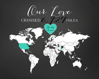 Love Mileage across the World -  Personalized Map Art Print for Home Decor, Long Distance Relationships, Chalkboard Love Map