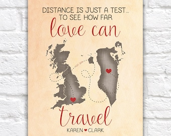 Gift for Boyfriend, Fiance, Husband Long Distance Relationship Art, Distance is just a Test, Love Est, Travel, Bahrain, UK, World WF252