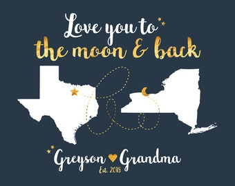 Gift for Grandparent Personalize Maps Moon and Back, Long Distance Unique Christmas Present from Granddaughter Grandson | WF625