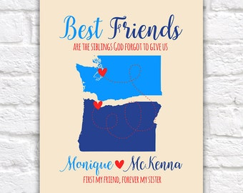 Personalized Maps, Custom Gift for BEST FRIENDS, Sisters, Christian Friends, Bible Study Group, Womens Friends, Pacific Northwest | WF466