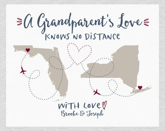 Grandparent Art Personalized Maps, A Grandparents Love Knows No Distance Quote, With Love Names, From Grandkids, For Grandpa, Nana WF524